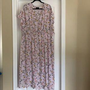 Floral flutter sleeve hi-lo dress